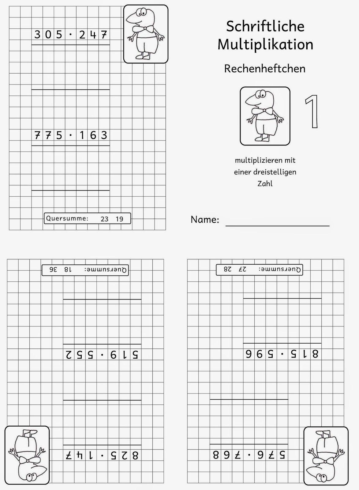 20 Arbeitsblatt Schriftliche Multiplikation   Schriftliche ...