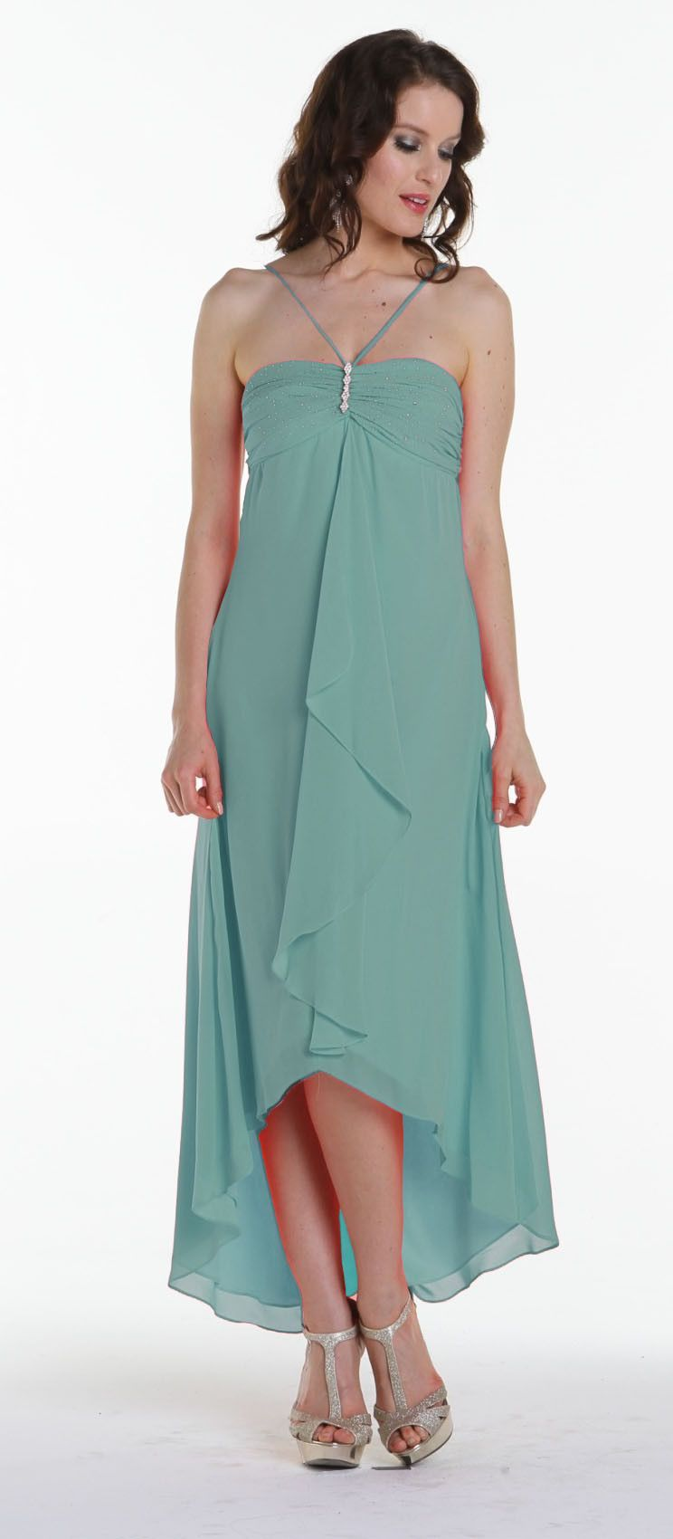 CLEARANCE - Sea Mist Green V Spaghetti Strap Tea Length Dress ...