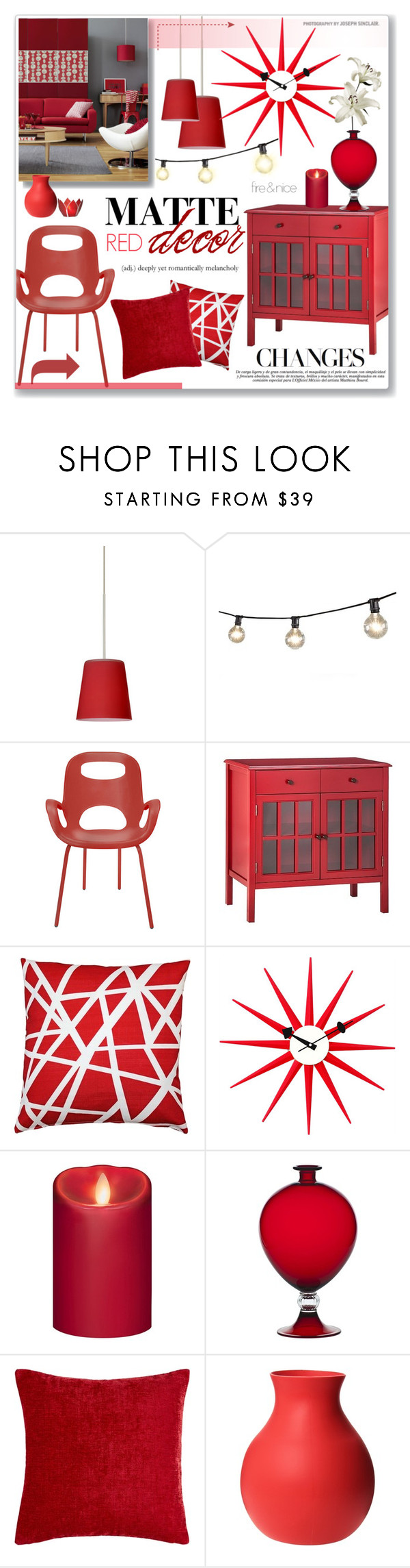 """""""Matte Red Home"""" by alexandrazeres ❤ liked on Polyvore featuring interior, interiors, interior design, home, home decor, interior decorating, Besa Lighting, Bulbrite, Umbra and Threshold"""