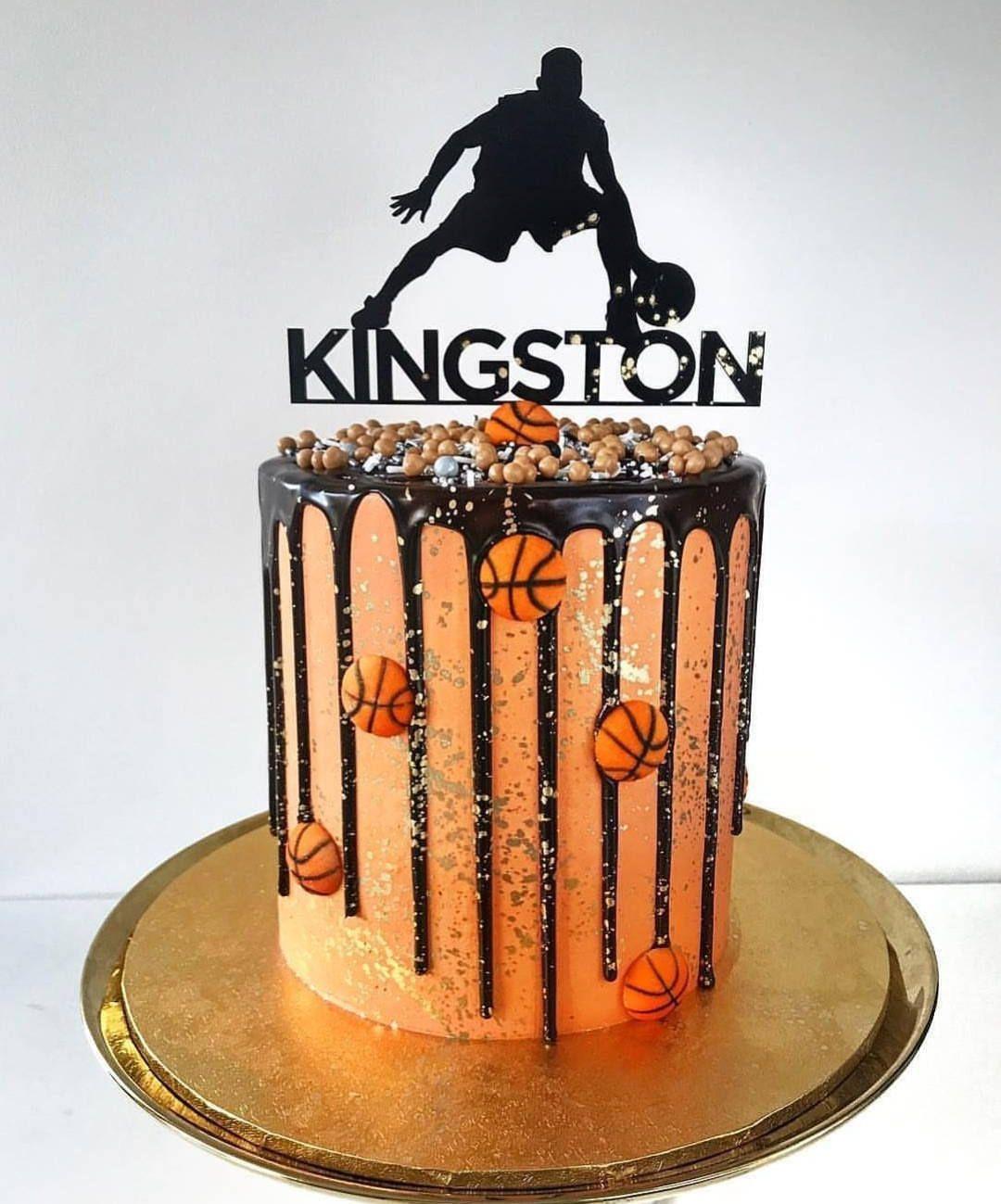 Basketball Cake Topper Free Shipping Acrylic Wood Cake Topper Sports Cake Custom Birthda Custom Birthday Cakes Basketball Cake Basketball Birthday Cake