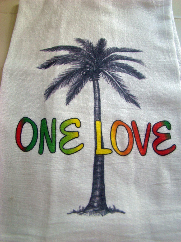 One Love, Palm tree tea towel - Original art Kitchen towel ...