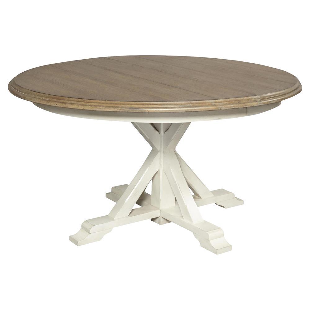 Kaylee Rustic Brown Top White Wood Round Extendable Dining Table 54 72 In 2021 Round Extendable Dining Table Extendable Dining Table Dining Table