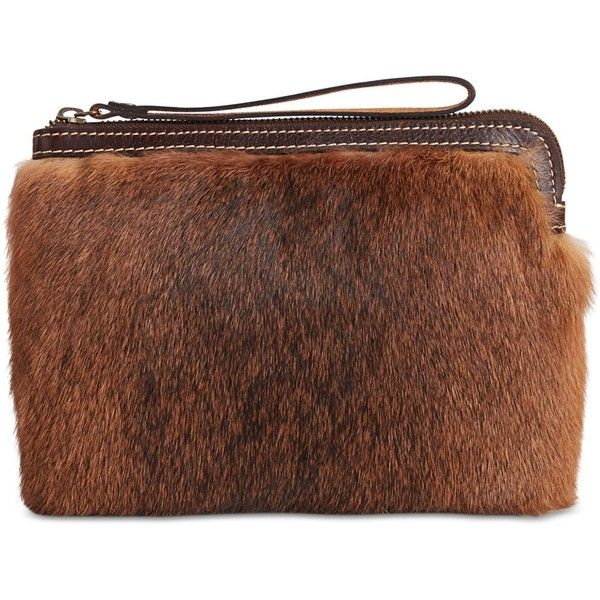 Patricia Nash Eclipse Fur Cassini Wristlet ($51) ❤ liked on Polyvore featuring bags, handbags, clutches, brown, patricia nash handbags, brown handbags, fur purse, brown purse and patricia nash