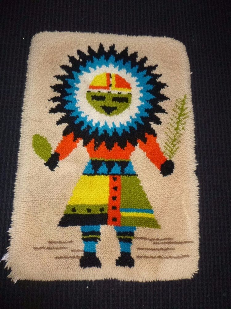 Vtg 70s Comp Latch Hook Rug Wall Hanging Native American Indian