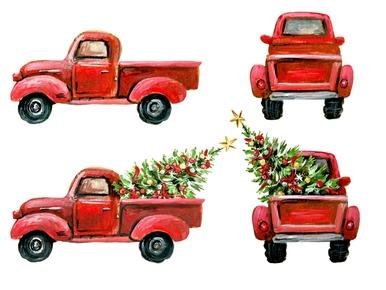 Christmas Red Truck Tree Digital Png Christmas Tree Drawing Christmas Red Truck Xmas Clip Art