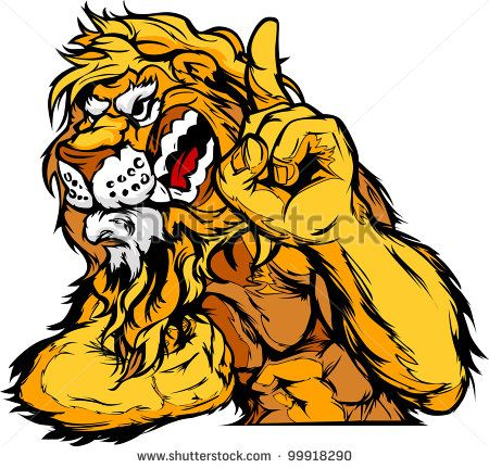 Cartoon Vector Mascot Image of a Lion Flexing Arms and Holding up Champion…