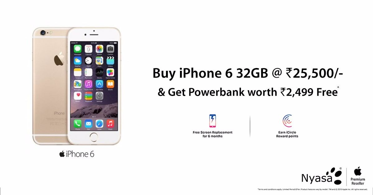 Now Get Iphone 6 In Your Budget Price Nyasa Apple Authorised Store Buy An Iphone 6 32gb Rs 25 500 Get Powerab Buy Iphone Buy Iphone 6 Apple Accessories