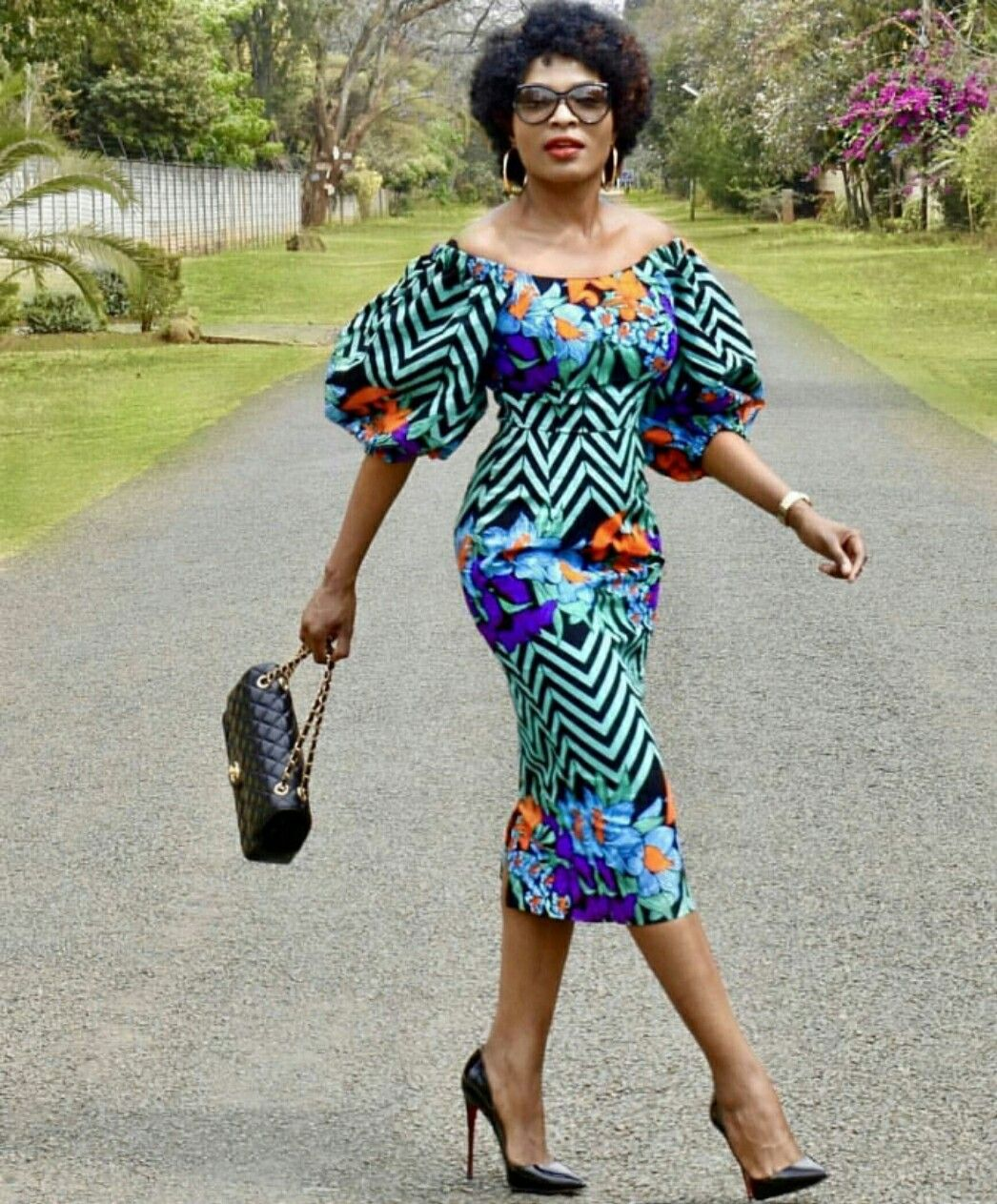 African women clothing African Wedding African Midi dress African fashion African long sleeved dress