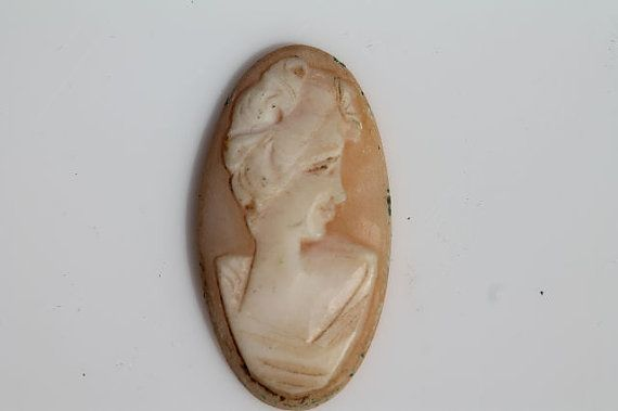 Tiny Antique Hand Carved Shell Left Facing Cameo with no Setting Great for Project