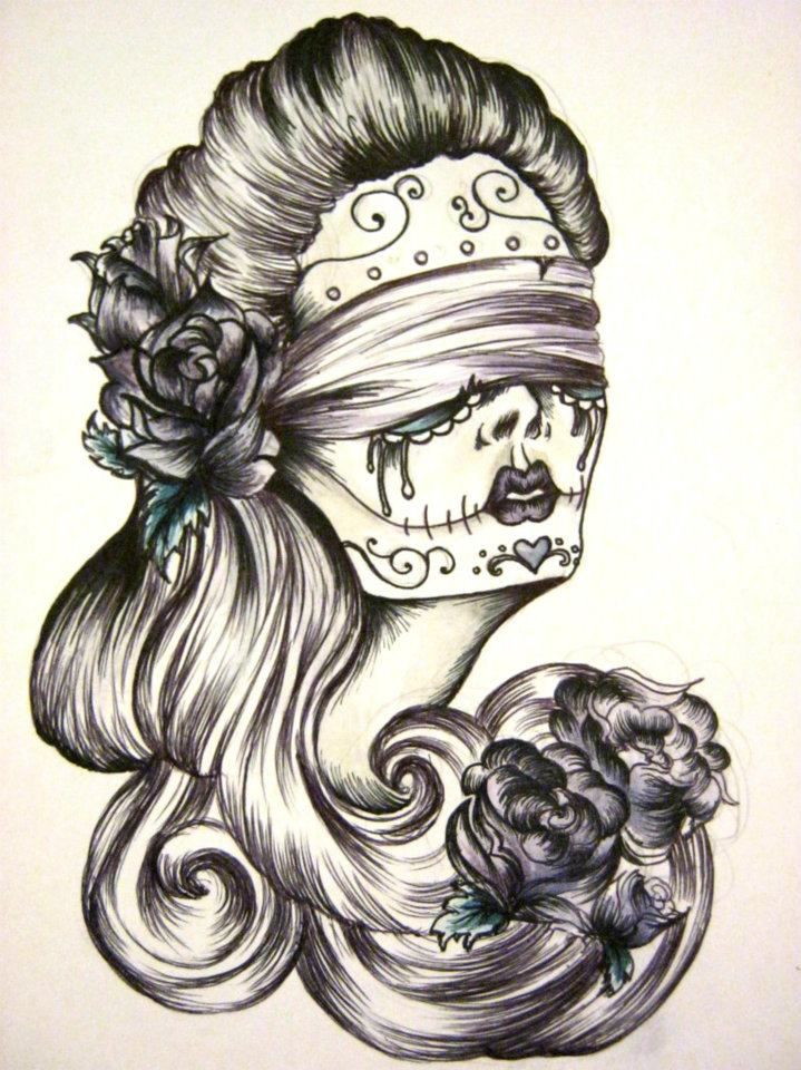 Blindfolds And Roses By Hanbambam Sugar Skull Flowers Lady Woman
