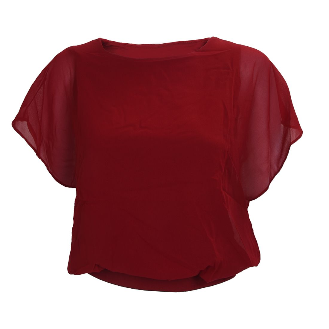 Click To Buy Hot Womens Career Candy Color Chiffon Tops Fitted Puff Sleeve Shirt Clubwear Blouse Red Wine L Affiliate Red Blouses Shirt Sleeves Shirt Blouses