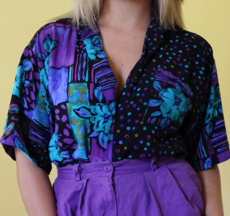 Super Cool Vintage 80s Fashion Outfit Bright Purple High Waisted Hot Pants Standout Bold Print Vintage Funky Outfits 80s Inspired Outfits Urban Style Outfits