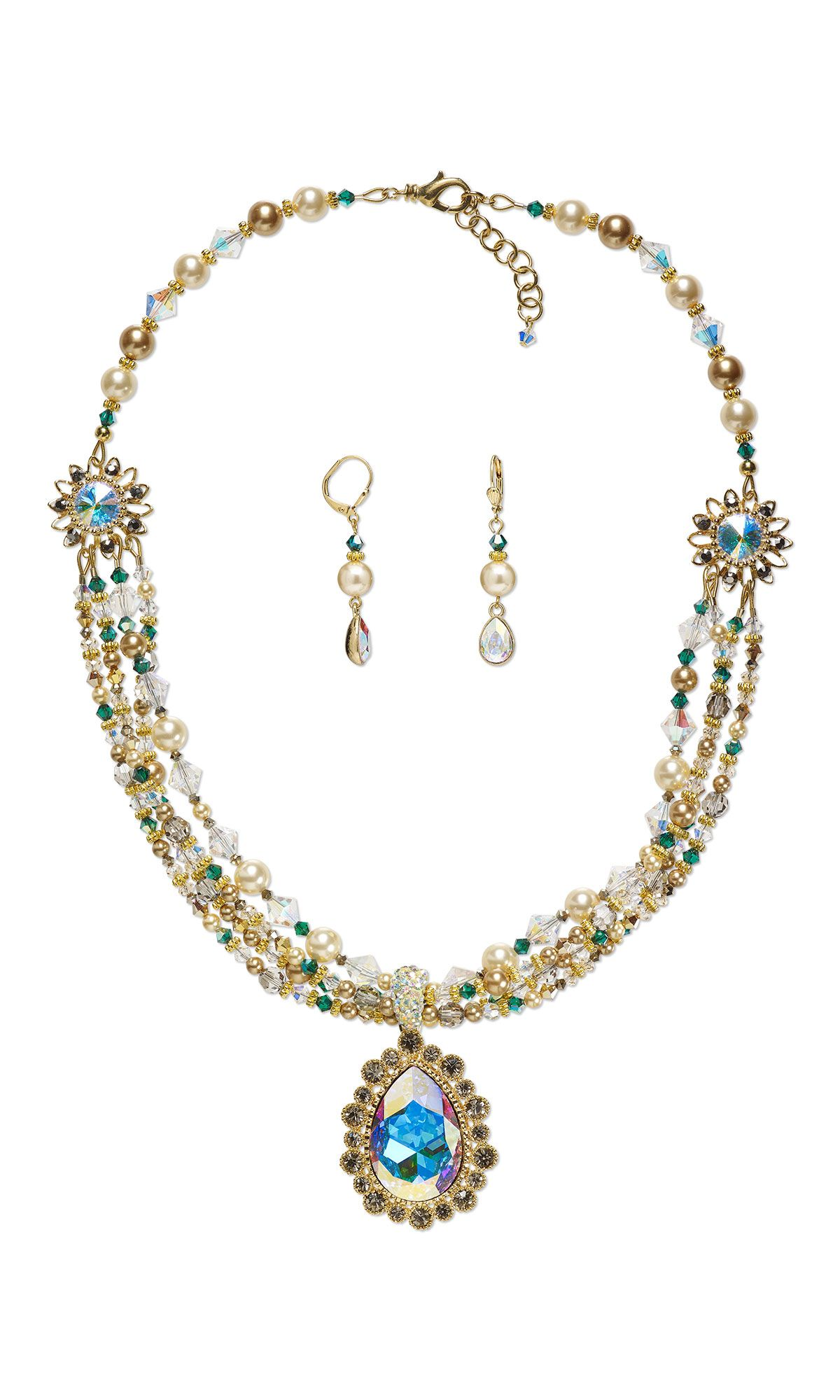 77552cb7446a Jewelry Design - Multi-Strand Necklace and Earring Set with Swarovski®  Crystals