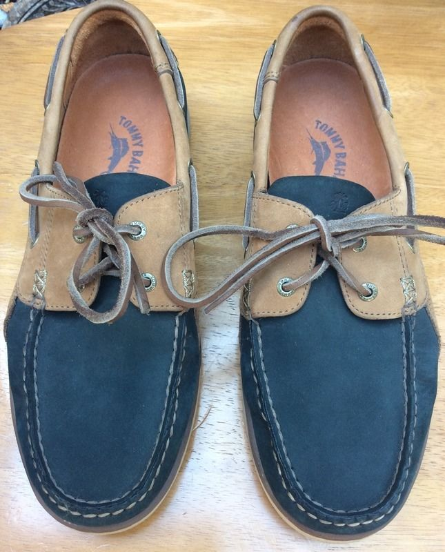 TOMMY BAHAMA MEN'S Leather Boat Deck Loafer Shoes~SZ.9 1/2 MED. EUC #TommyBahama #BoatShoes