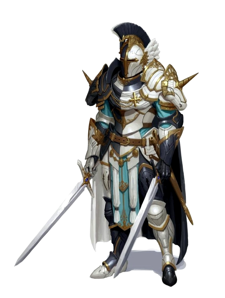 Male Human Knight Fighter - Dual Wield Swords - Plate Armor - Pathfinder PFRPG DND D&D 3.5 ...