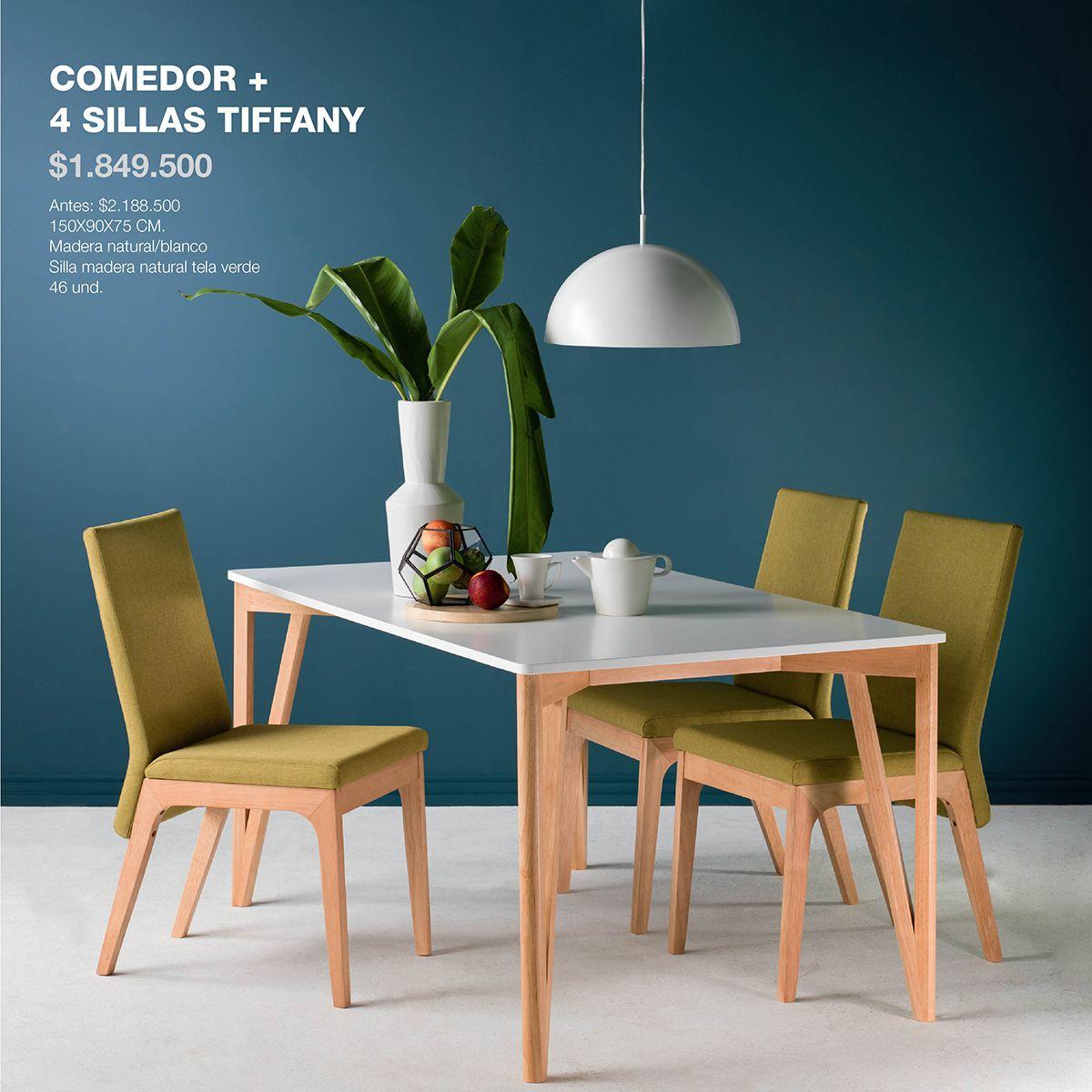 Comedor y sillas tiffany vidrio de color blanco y madera - Sillas comedor colores ...