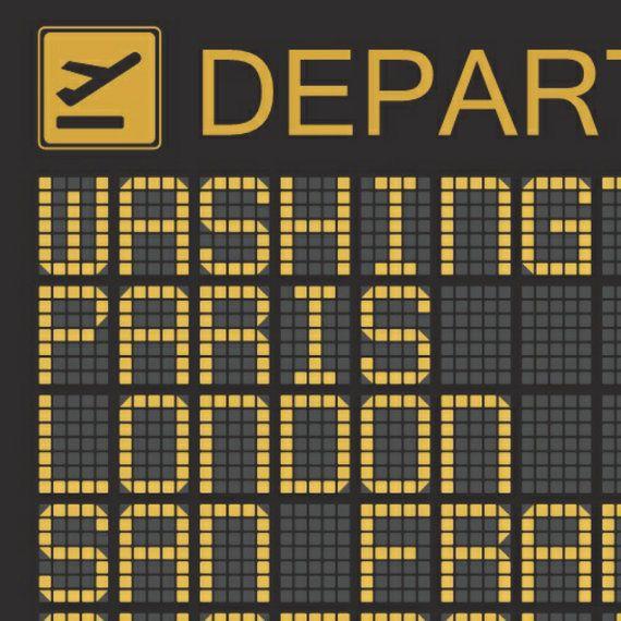 Personalised Airport Departures Board Print Various by