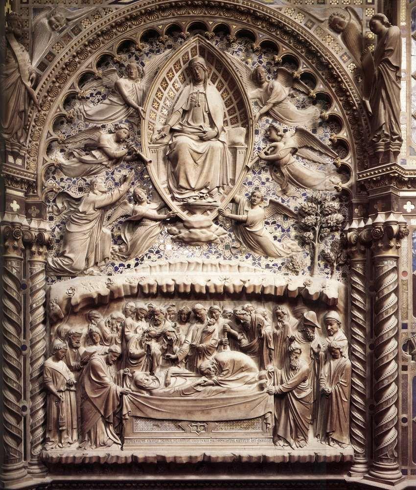 Andrea di Cione di Arcangelo soprannominato L'Orcagna (1310 circa – 1368): Dormition and Assumption of the Virgin, 1359.   Marble, chiesa di Orsanmichele, Florence.