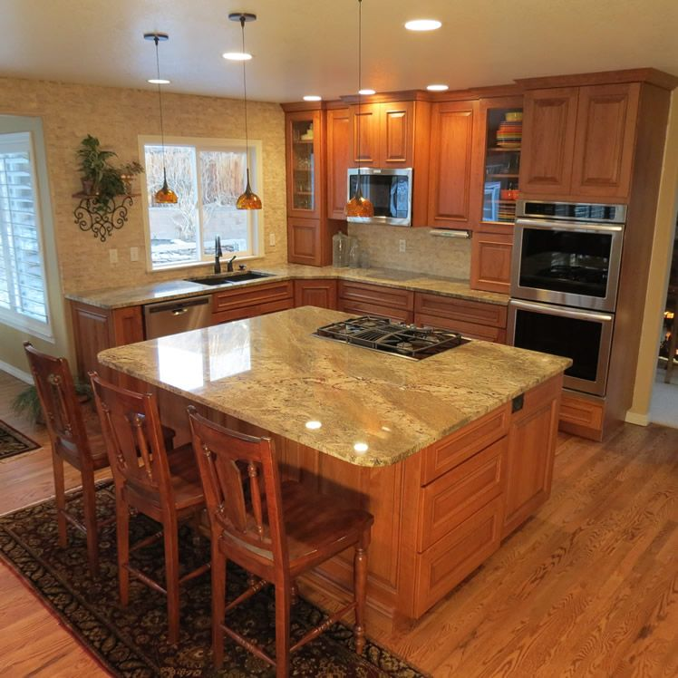 Indian Kitchen Cabinets L Shaped Google Search: Hickory Cabinets With Netuno Bordeaux Granite Countertops - Google Search