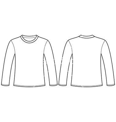 Download Longsleeved Tshirt Template Vector On Vectorstock T Shirt Design Template Basic Shirt Women Clothing Mockup