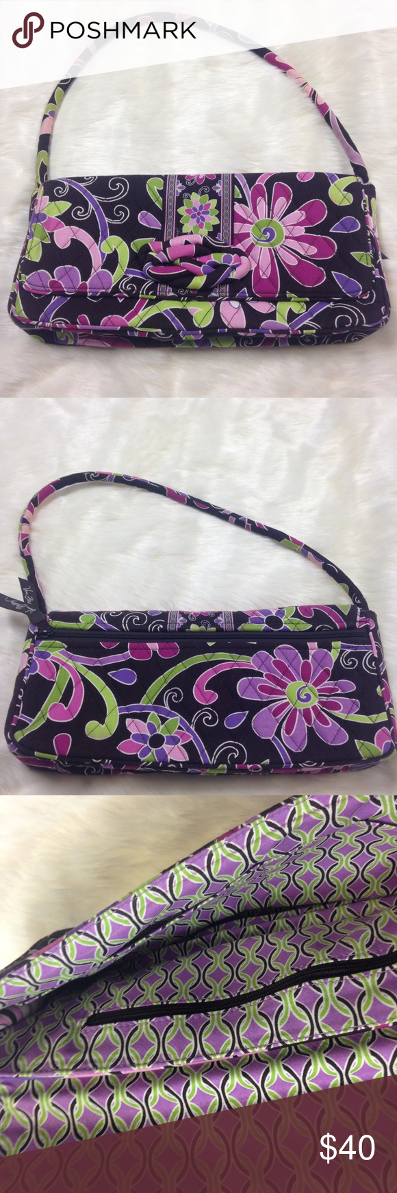 Vera Bradley Purple Punch Knot Just a Clutch Bag No flaws. Length 12.5 inches. Height 6.5 inches. 2 inside slip pockets. 1 inside zipper pocket. 1 outside zipper pocket. Strap drop 9.5 inches(detachable strap). Vera Bradley Bags Shoulder Bags