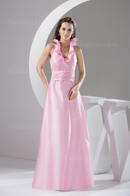 Floor length sleeveless taffeta dress bridesmaid dresses