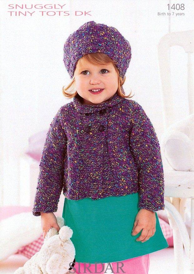 Beret And Double Breasted Jacket In Sirdar Snuggly Tiny Tots Dk
