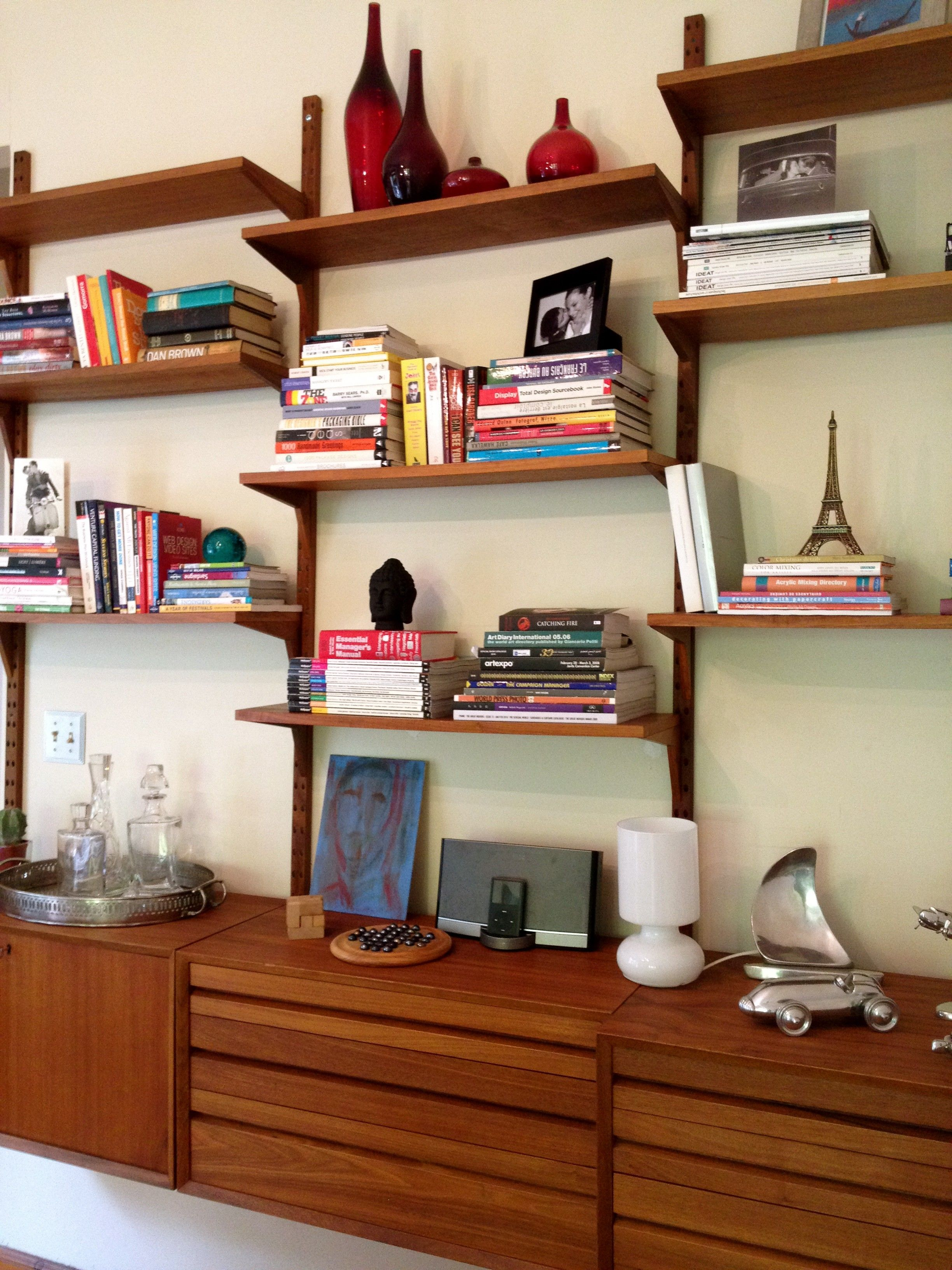 interesting scandinavian bookshelves with brown wooden floating
