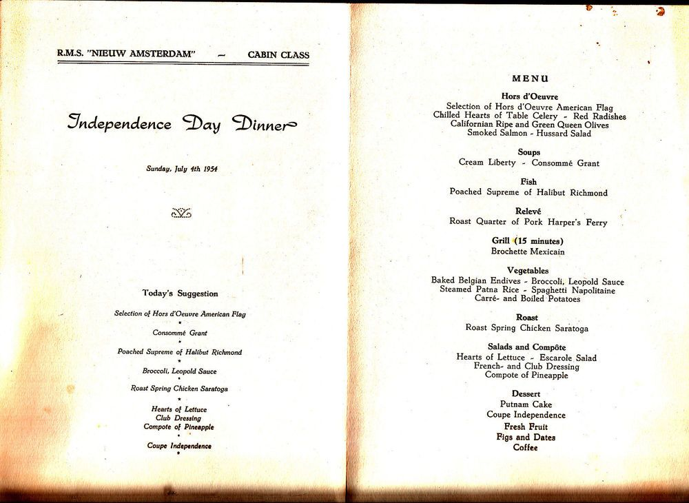 Rms nieuw amsterdam independence day july 4 1954 dinner menu rms nieuw amsterdam independence day july 4 1954 dinner menu holland america publicscrutiny Image collections