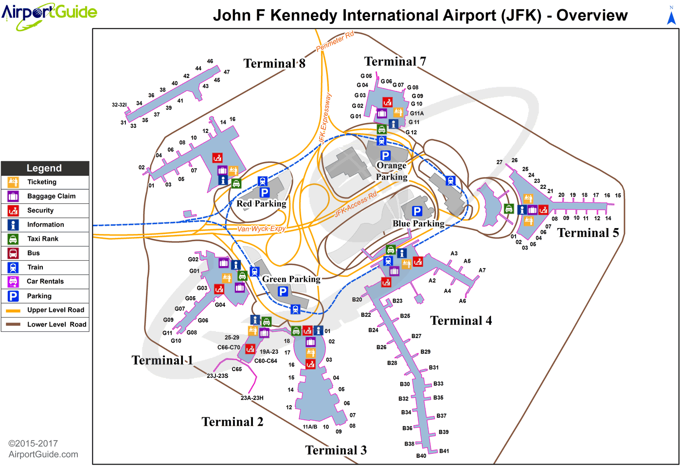 Map Of New York Showing Jfk Airport.New York John F Kennedy International Jfk Airport Terminal Map