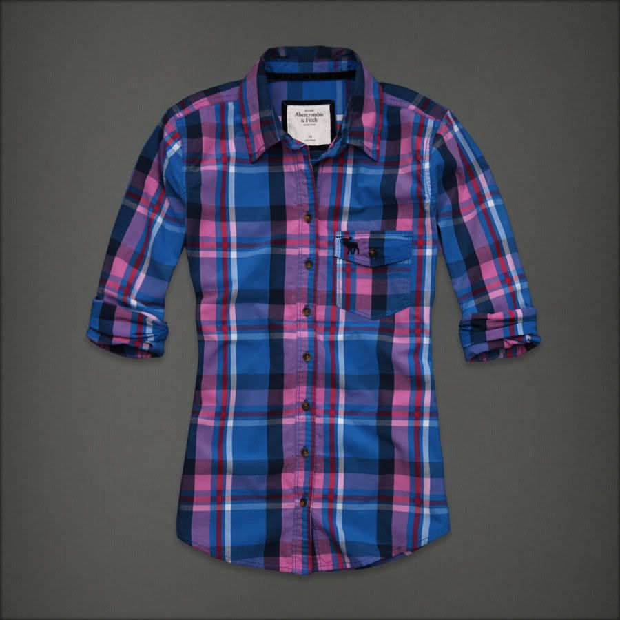 blue plaid women's button up shirt | Abercrombie Fitch Women Blue ...
