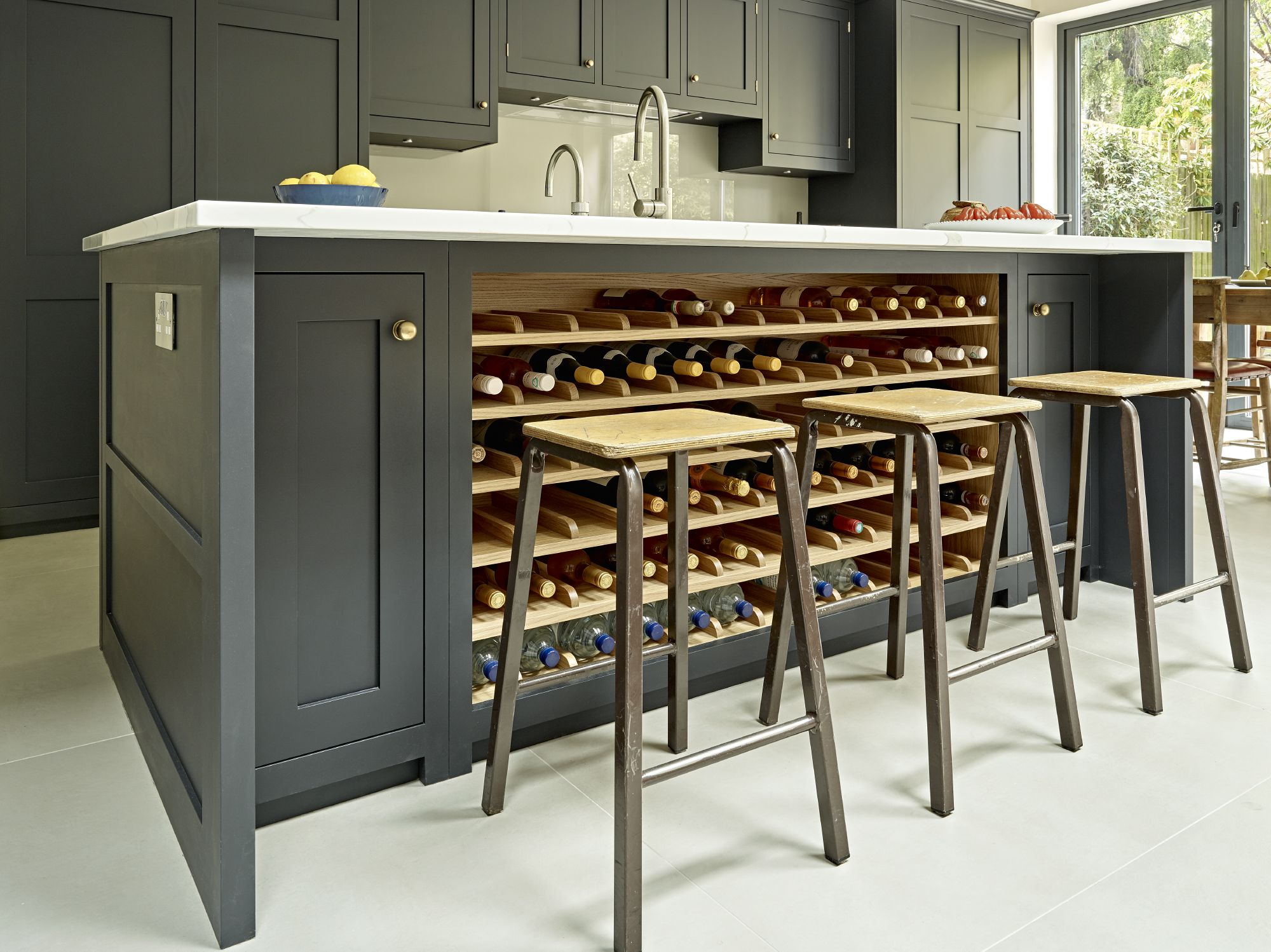 Grey Black Kitchen Island Design With Integrated Wine Rack In Oak Large Bespoke Breakfast Bar Seating And Calacatta Marble Effect Worktop