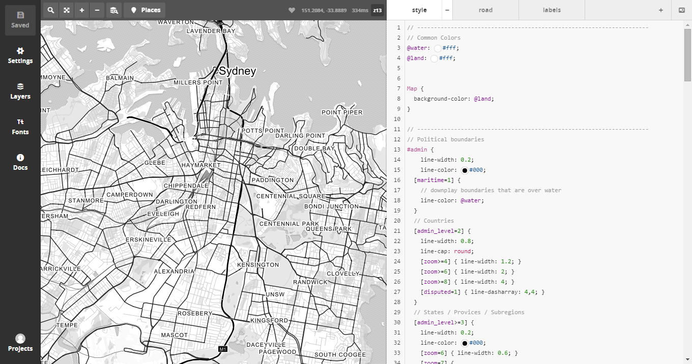 High contrast map - Mapbox Studio | Visual Bench Marking