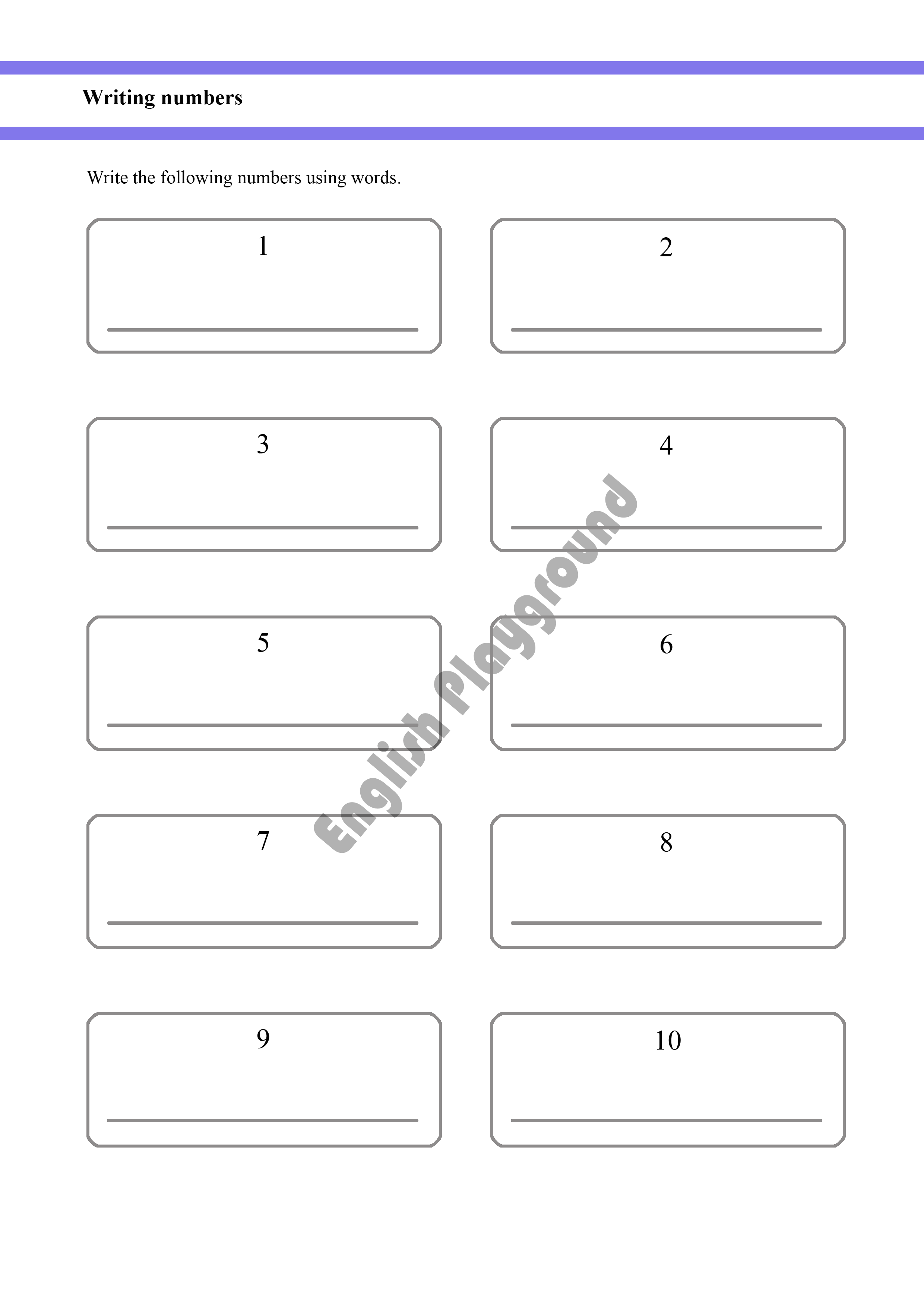 Written Numbers From 1 To 10 For Year 1 And Year 2