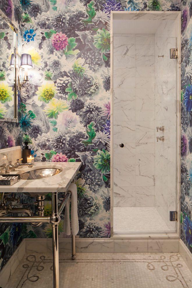 Моющиеся обои в интерьере ванной | Дизайн, Обои для ванной ...