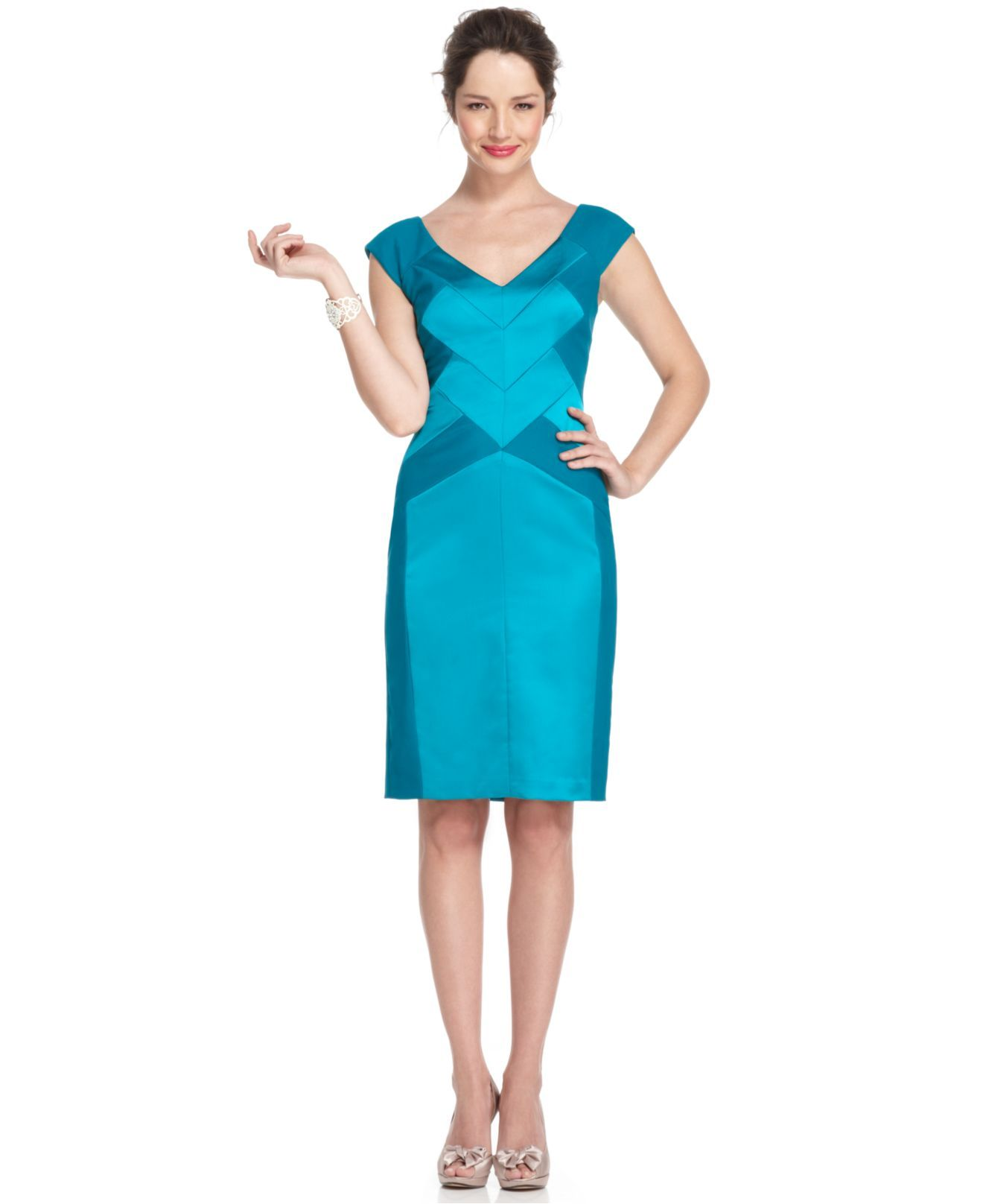 Maggy London Dress, Sleeveless Seamed V-Neck Sheath - Womens Mother of the Bride Dresses - Macy's