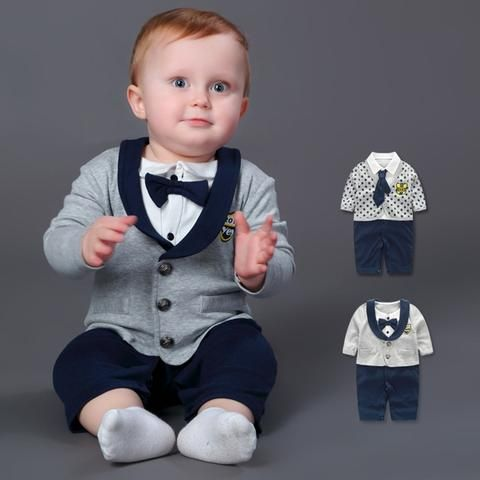 8085241dd Baby Rompers 100% Cotton Bow Tie Gentleman Suit Boys Leisure Clothing Sets  Roupa Bebes Newborn