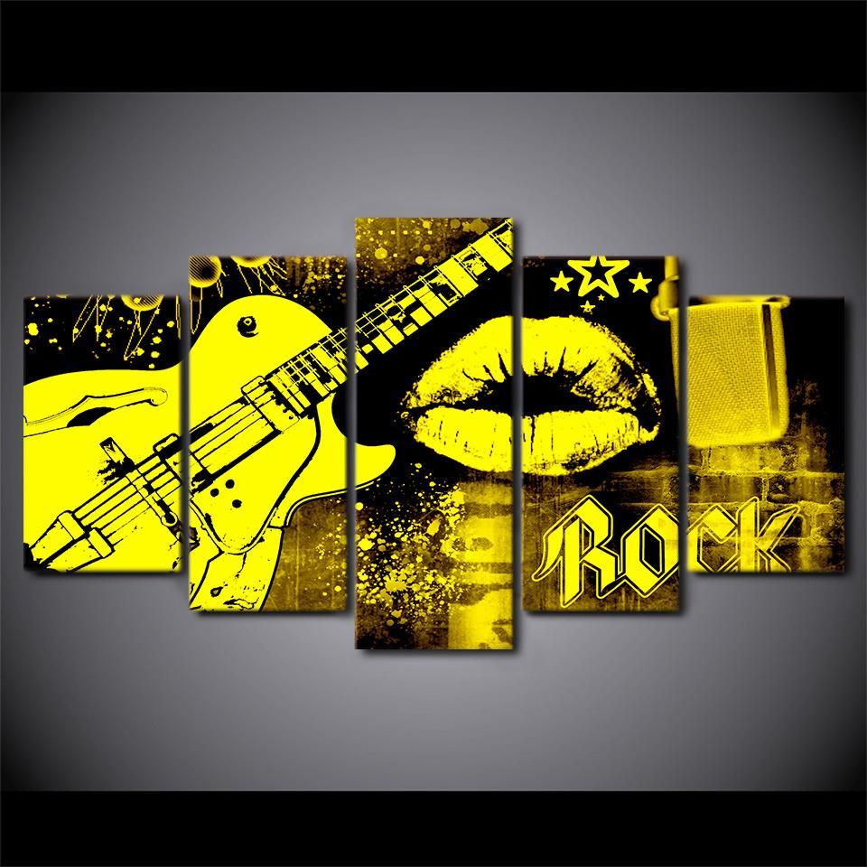 5 Piece Canvas Abstract Art Guitar Print Mouth Lips Kiss Wall ...
