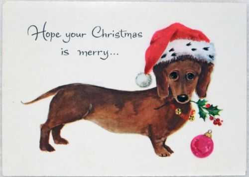 Joking Hazard Dachshund Christmas Vintage Christmas Cards Vintage Christmas