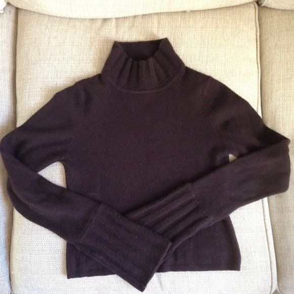 100% Cashmere Chocolate Brown Turtleneck Sweater L | Chocolate ...