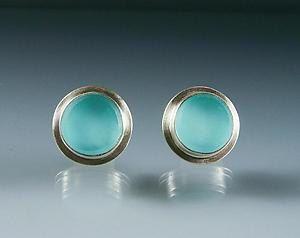 Aqua Glass Button Earrings by Amy Faust