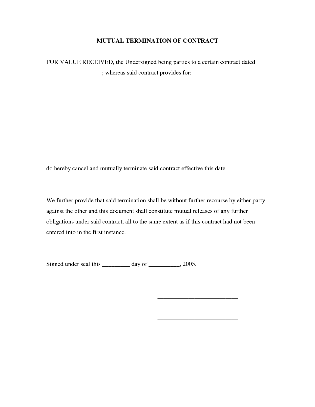 Business Termination Agreement Contract Letter Sample Mutual