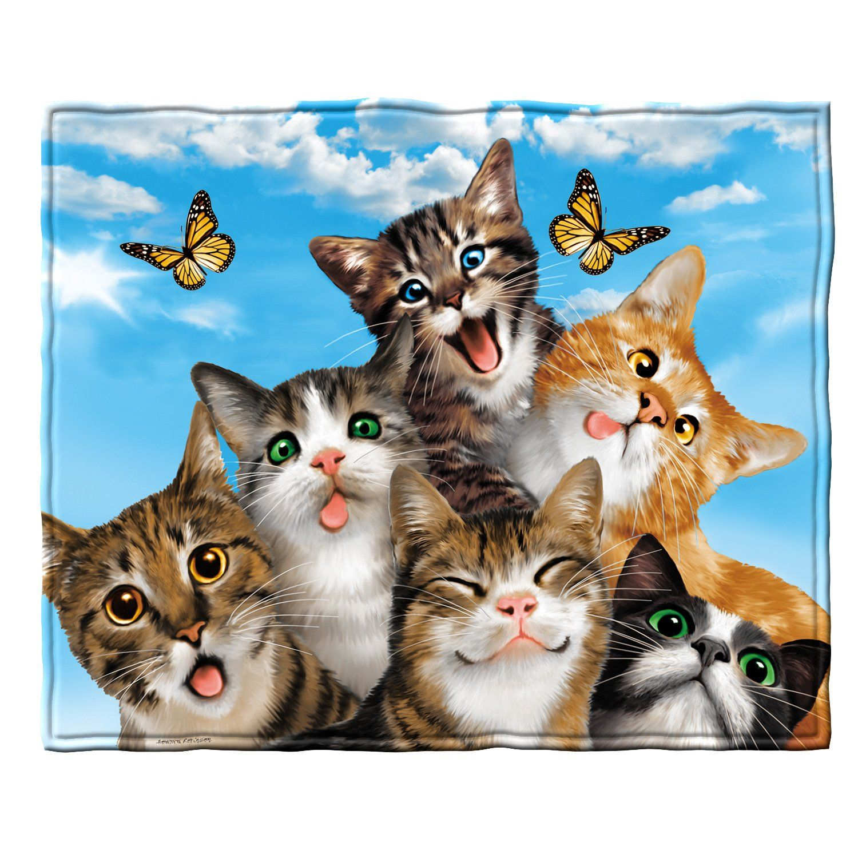 Dawhud Direct Cats Selfie Fleece Throw Blanket Fleece Throw Blanket Cat Selfie Cat Throw