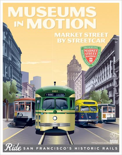 left to right, are four preserved streetcars in historic liveries: Muni No. 1 in its 1912 gray & maroon; Streamlined PCC cars No. 1051 in po...