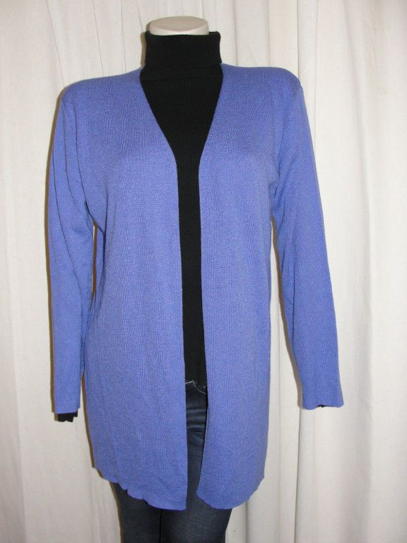 CHICOS Knit Acrylic Nylon Periwinkle L Sleeve Open Front Cardigan ...
