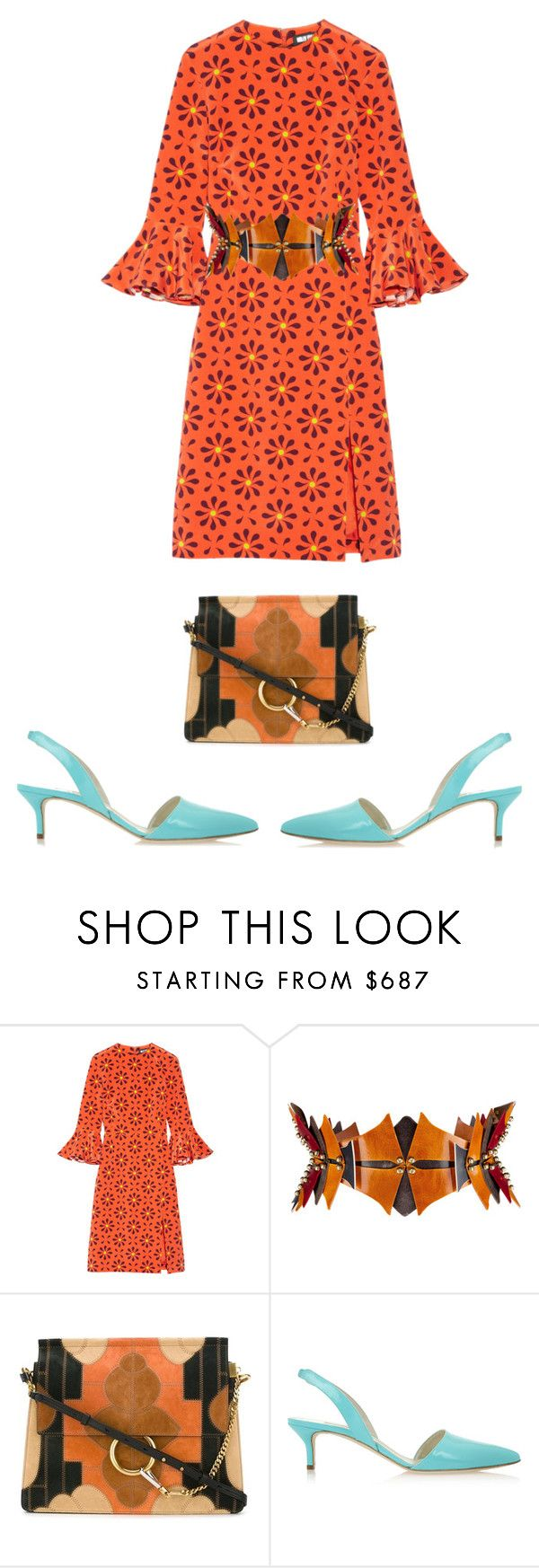 """Orange silk dress"" by perfectforyou ❤ liked on Polyvore featuring Holly Fulton, Úna Burke, Chloé and Oscar de la Renta"