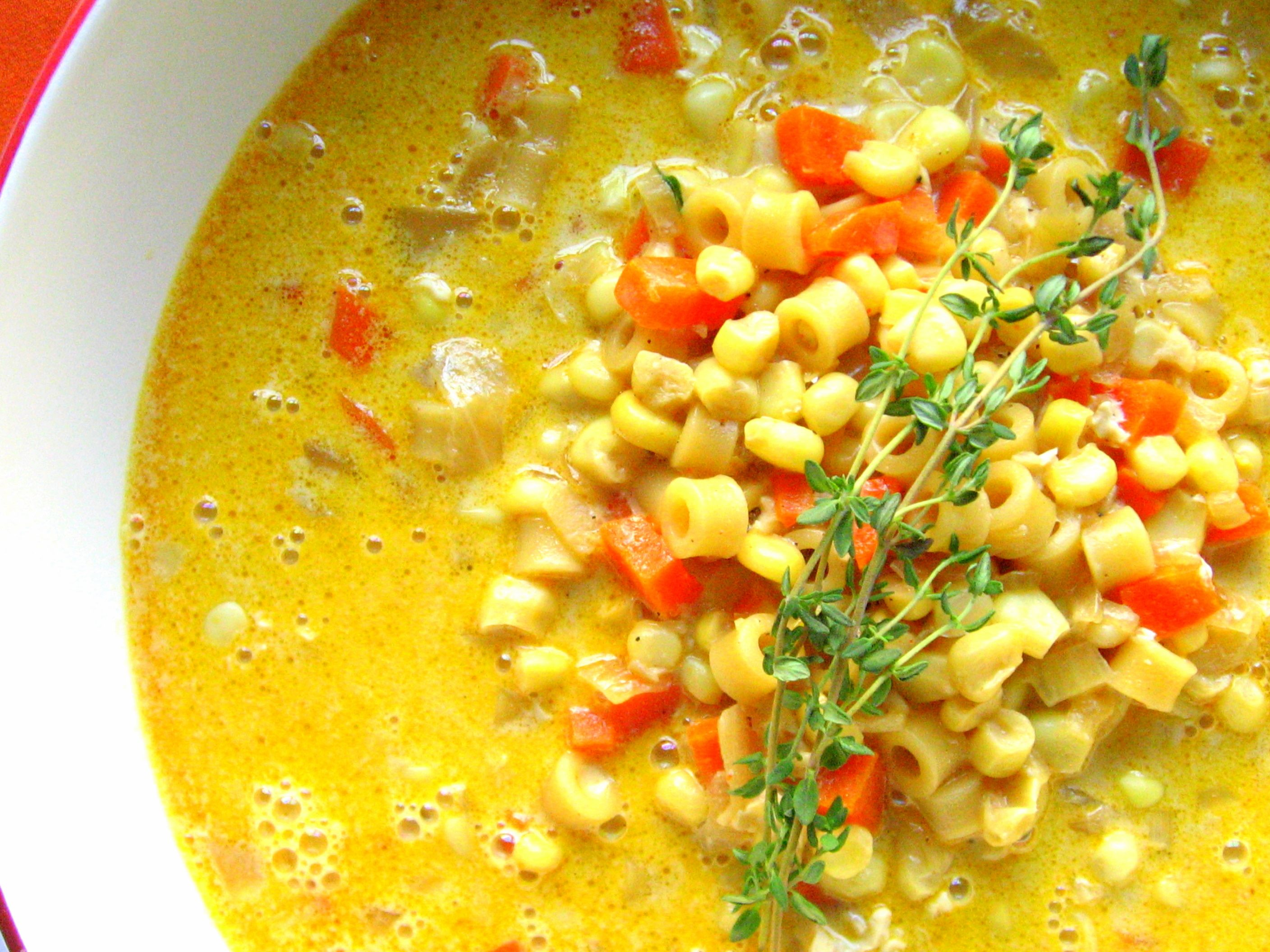 Corn Soup ~ corn, onions, garlic, bacon, carrots, red pepper, pasta & cream.  Meal in a bowl!