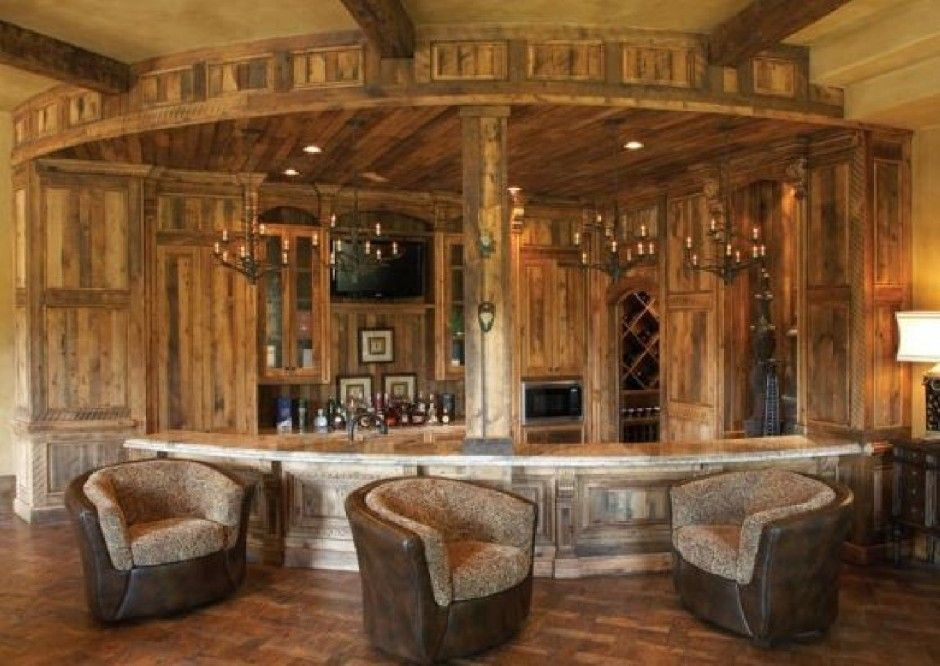 Home Design Rustic Home Bar With Western Style Design Modern Western ...