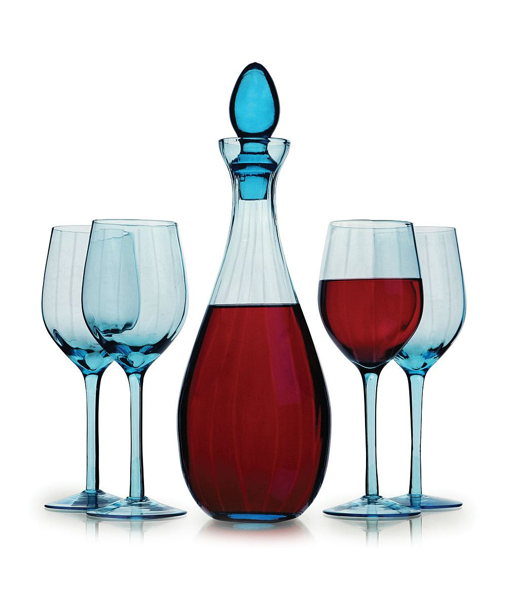 Circle Glass Blue Barcelona 5 Piece Wine Set Wine Set Glass Wine