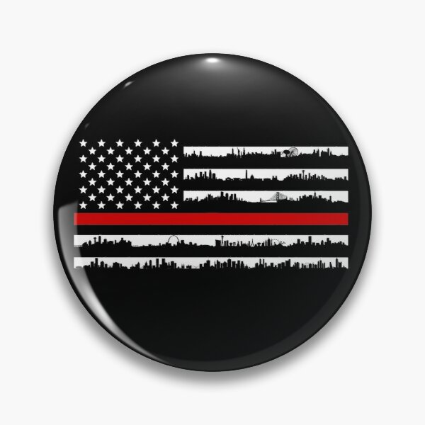 American Fire Thin Red Line Support For Fire Department Pin Button By Sea Stories In 2020 Sea Stories Supportive Buttons Pinback